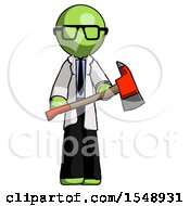 Green Doctor Scientist Man Holding Red Fire Fighters Ax