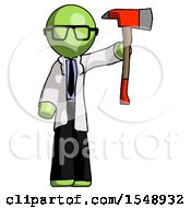 Green Doctor Scientist Man Holding Up Red Firefighters Ax