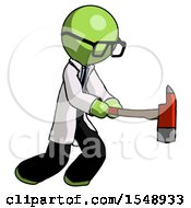Green Doctor Scientist Man With Ax Hitting Striking Or Chopping