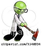 Green Doctor Scientist Man Striking With A Red Firefighters Ax