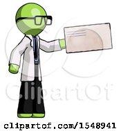 Green Doctor Scientist Man Holding Large Envelope