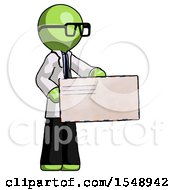 Green Doctor Scientist Man Presenting Large Envelope