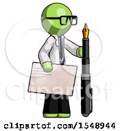 Green Doctor Scientist Man Holding Large Envelope And Calligraphy Pen
