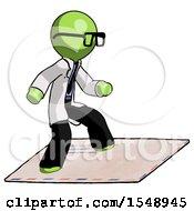 Green Doctor Scientist Man On Postage Envelope Surfing