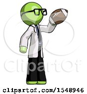 Green Doctor Scientist Man Holding Football Up