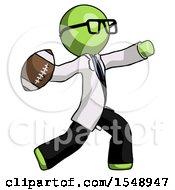 Green Doctor Scientist Man Throwing Football