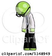 Green Doctor Scientist Man Depressed With Head Down Turned Left