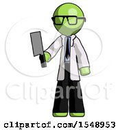 Green Doctor Scientist Man Holding Meat Cleaver