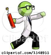 Green Doctor Scientist Man Throwing Dynamite