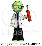 Green Doctor Scientist Man Holding Dynamite With Fuse Lit