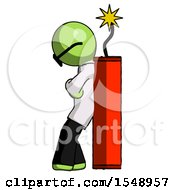 Green Doctor Scientist Man Leaning Against Dynimate Large Stick Ready To Blow
