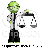 Green Doctor Scientist Man Holding Scales Of Justice