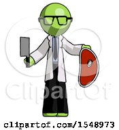 Green Doctor Scientist Man Holding Large Steak With Butcher Knife