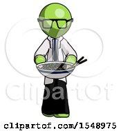 Green Doctor Scientist Man Serving Or Presenting Noodles