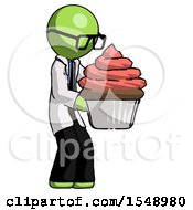 Green Doctor Scientist Man Holding Large Cupcake Ready To Eat Or Serve
