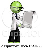 Green Doctor Scientist Man Holding Blueprints Or Scroll
