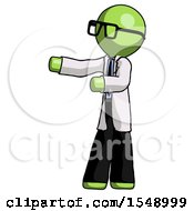 Green Doctor Scientist Man Presenting Something To His Right