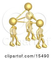 Gold Business People Connected By Atoms Symbolizing Teamwork Brainstorming Creativity And Ideas Clipart Illustration Image