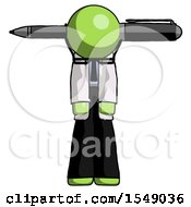 Green Doctor Scientist Man Head Impaled With Pen