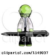 Green Doctor Scientist Man Weightlifting A Giant Pen
