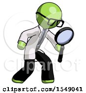 Green Doctor Scientist Man Inspecting With Large Magnifying Glass Right