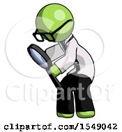 Green Doctor Scientist Man Inspecting With Large Magnifying Glass Left