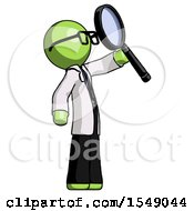 Green Doctor Scientist Man Inspecting With Large Magnifying Glass Facing Up
