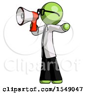 Green Doctor Scientist Man Shouting Into Megaphone Bullhorn Facing Left