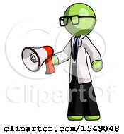 Green Doctor Scientist Man Holding Megaphone Bullhorn Facing Right