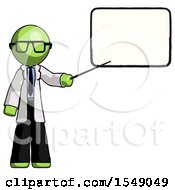 Green Doctor Scientist Man Giving Presentation In Front Of Dry Erase Board