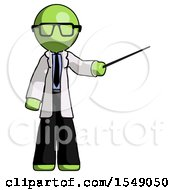 Green Doctor Scientist Man Teacher Or Conductor With Stick Or Baton Directing