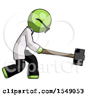 Green Doctor Scientist Man Hitting With Sledgehammer Or Smashing Something