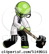 Green Doctor Scientist Man Hitting With Sledgehammer Or Smashing Something At Angle