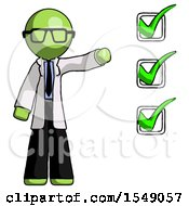 Green Doctor Scientist Man Standing By List Of Checkmarks
