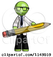 Green Doctor Scientist Man Writer Or Blogger Holding Large Pencil