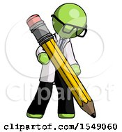 Green Doctor Scientist Man Writing With Large Pencil