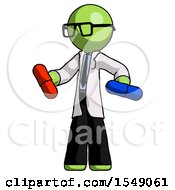 Green Doctor Scientist Man Red Pill Or Blue Pill Concept
