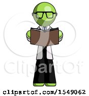 Poster, Art Print Of Green Doctor Scientist Man Reading Book While Standing Up Facing Viewer