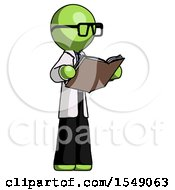 Poster, Art Print Of Green Doctor Scientist Man Reading Book While Standing Up Facing Away