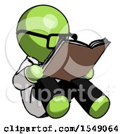 Poster, Art Print Of Green Doctor Scientist Man Reading Book While Sitting Down