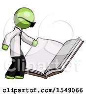 Poster, Art Print Of Green Doctor Scientist Man Reading Big Book While Standing Beside It