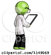 Green Doctor Scientist Man Looking At Tablet Device Computer Facing Away