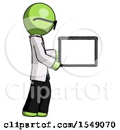 Green Doctor Scientist Man Show Tablet Device Computer To Viewer Blank Area