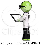Green Doctor Scientist Man Looking At Tablet Device Computer With Back To Viewer