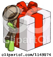 Green Explorer Ranger Man Leaning On Gift With Red Bow Angle View