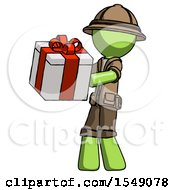 Green Explorer Ranger Man Presenting A Present With Large Red Bow On It