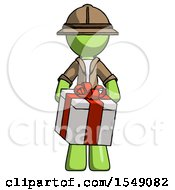 Green Explorer Ranger Man Gifting Present With Large Bow Front View