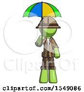 Green Explorer Ranger Man Holding Umbrella Rainbow Colored
