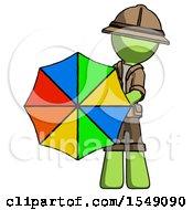 Green Explorer Ranger Man Holding Rainbow Umbrella Out To Viewer