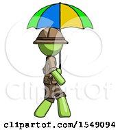 Green Explorer Ranger Man Walking With Colored Umbrella